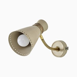 Vintage Wandlampe aus cremefarbenem Metall & Messing, 1970er