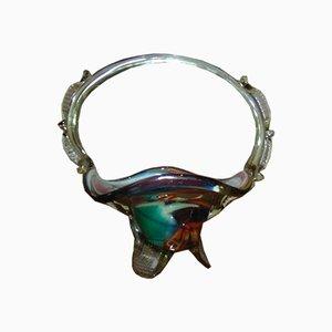 Mehrfarbige Vintage Obstschale aus Glas von Ząbkowice Glassworks, 1970er