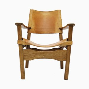 Danish Oak and Saddle Leather Armchair, 1960s