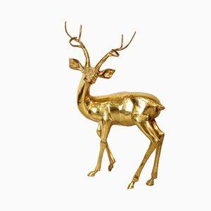Extra großer handgemachter deutscher Vintage Hirsch aus Messing von Gilde Handwerk