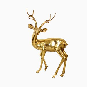 Extra Large Vintage German Hand-Made Brass Deer by Gilde Handwerk