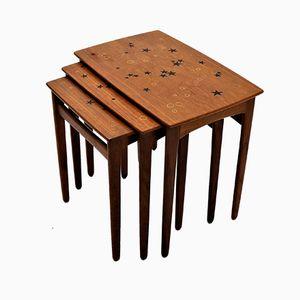 Mesas nido escandinavas modernas de teca de Svend Age Madsen, años 50