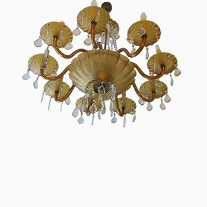 Large Venetian Amber Glass & Brass 8-Arm Chandelier, 1960s
