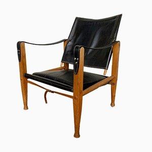 Sillón Safari de cuero negro y fresno de Kaare Klint para Rud. Rasmussen, años 60