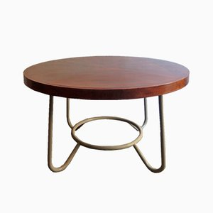 Large Round Wood and Metal Table