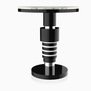 Etania Variation 2 Side Table with Silver Band & White Top from CASALTO