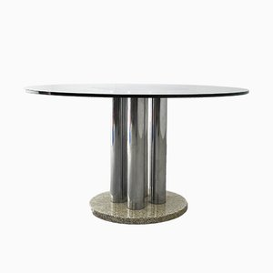 Round Glass, Steel & Marble Table, 1970s