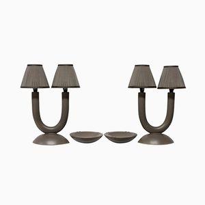 Französische Vintage Lampen und Aschenbecher, 2er Set