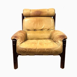 Vintage Leather & Oak Lounge Chair, 1960s