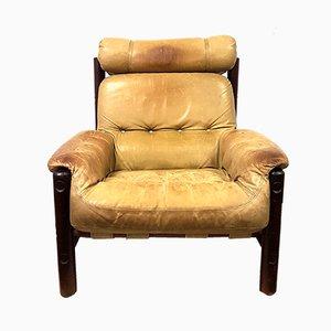 Vintage Leather & Oak Lounge Chair, 1960s