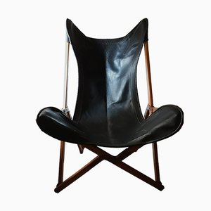 Vintage Oak & Leather Tripolina Folding Lounge Chair by Joseph Fenby