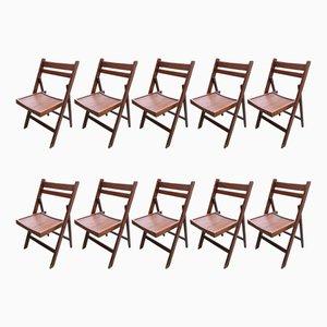 Chaises de Conférence en Bois, 1950s, Set de 10