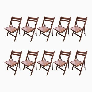 Wooden Conference Chairs, 1950s, Set of 10