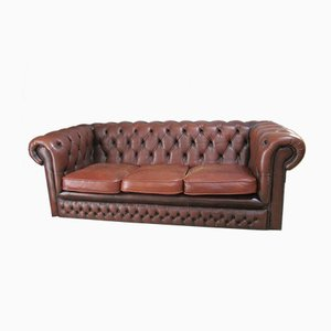 Vintage Brown Leather Chesterfield Sofa, 1980s