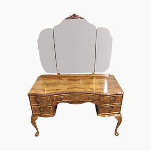 Burr Walnut Queen Anne Design Dressing Table with Triple Mirror