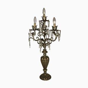 Lampada da tavolo vintage a forma di candelabro in cristallo e metallo