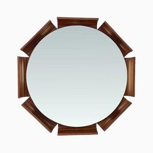 Beleuchteter Spiegel mit achteckigem Rahmen aus Palisander, 1960er