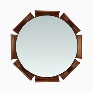 Espejo octogonal de palisandro iluminado, años 60