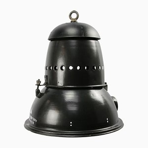 Large Vintage Black Enamel Pendant Light