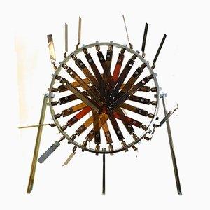 Skulptur aus leuchtendem Glas und Stahl von Marcello Avenali, 1970er