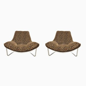 Tubular Steel & Upholstered Lounge Chairs, 1970s, Set of 2