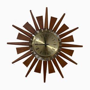 Orologio da parete Mid-Century a forma di sole di Anstey & Wilson