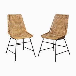 Vintage Rattan and Metal Base Dining Chairs, 1960s, Set of 2