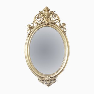 Antique French Giltwood Oval Wall Mirror
