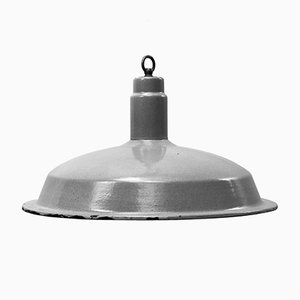 Vintage Industrial Grey Enamel Factory Pendant Lamp