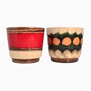 Mid-Century West German Fat Lava Plant Pots, 1950s, Set of 2