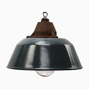 Lampe à Suspension Industrielle Vintage en Email Bleu, en Fonte et en Verre