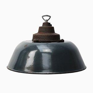 Lampe à Suspension d'Usine Vintage Industrielle en Fonte Émaillée Bleu Foncé