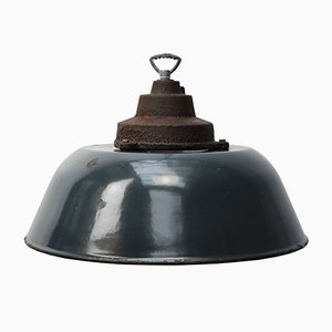 Vintage Industrial Dark Blue Enamel & Cast Iron Factory Pendant Light