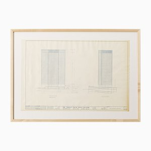 One Charles Center Elevations Blue Print by Ludwig Mies van der Rohe, 1961