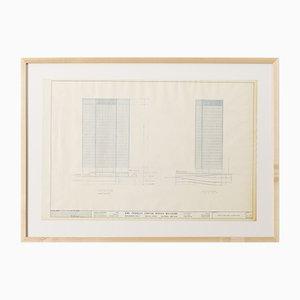 One Charles Center Elevations Zeichnung von Ludwig Mies van der Rohe, 1961