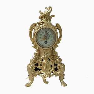 French Gilt Metal Rococo Style Mantel Clock, 1890s