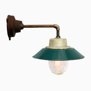 Petrolblau emaillierte industrielle Vintage Wandlampe aus Gusseisen & Glas