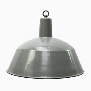 Vintage Industrial Grey Enamel Pendant Light