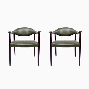 Danish Green Leather Dining Chairs, 1960s, Set of 2