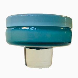 Cuenco vintage de cristal de Murano azul con base, años 60