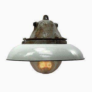 Lampe à Suspension Industrielle Vintage en Émail, Fonte et Verre de Holophane