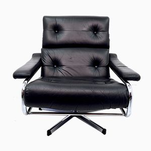Black Leather Alpha Swivel Lounge Chair by Tim Bates for Pieff, 1970s