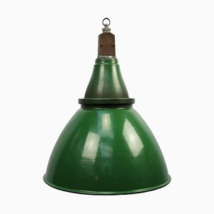 Vintage Industrial British Green Enamel Pendant Light