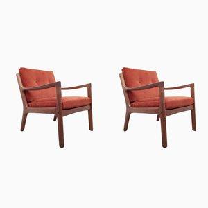 Dänische Sessel mit Gestell aus Teak von Ole Wanscher für France & Son, 1960er, 2er Set