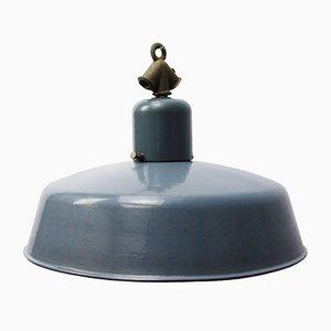 Lampe à Suspension Industrielle Vintage en Émail Gris de Siemens
