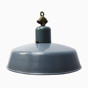 Vintage Industrial Grey Enamel Pendant Light from Siemens