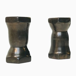 Art Deco Bronze Candleholders, 1930s, Set of 2