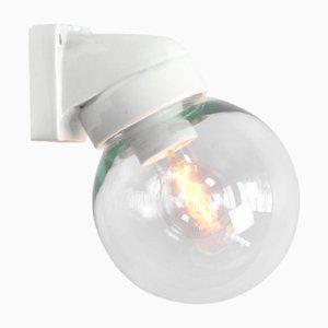 Lampada da parete vintage industriale in vetro e porcellana bianca, anni '50