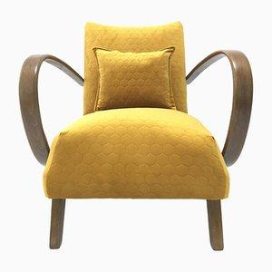 Senfgelber Sessel mit Gestell aus Bugholz von Jindřich Halabala, 1960er