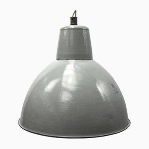 Lámpara colgante industrial vintage esmaltada en gris